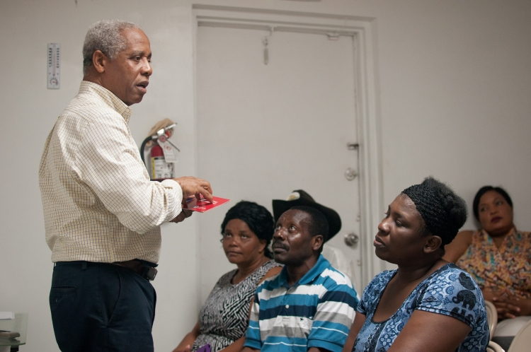 AFSC staffer Paul-Andre Mondesir facilitates a citizenship and advocacy course in Florida, where AFSC works with many immigrants from Haiti—one of 10 countries covered by TPS. Photo: Bryan Vana/AFSC