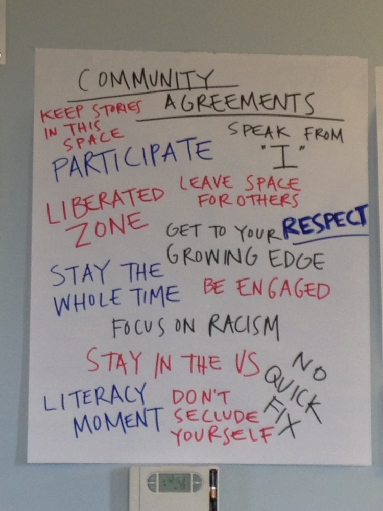 Community agreements created by the participants of the Dec. 27-28, 2013 Freedom