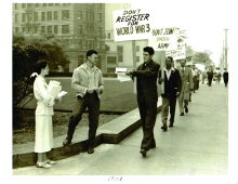 Cornelius Steelink in 1948 picketing against WWIII.