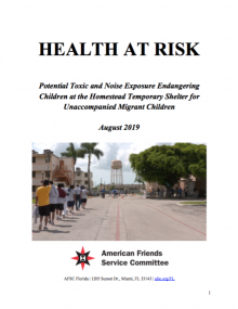 AFSC's Report on Health at Risk at Homestead Detention Center Cover