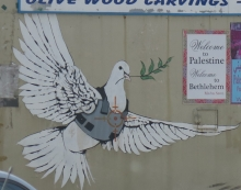 Banksy dove outside Bethlehem