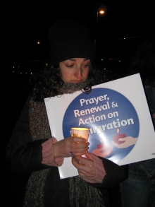 Chandra Russo at immigration vigil in Aurora, CO