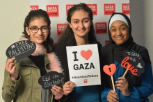 To Gaza with Love young people at photobooth in Indy