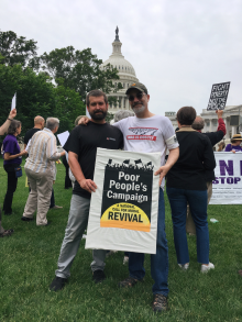 Jacob Flowers (left) and Brant Rosen at the Poor People's Campaign protest in Washington, DC.