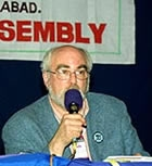 Joseph Gerson addresses Indian Anti-War Assembly, Hyderbad, Dec. 18, 2004.