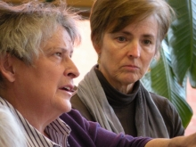 Kathleen McQuillen and Claire Cumbie-Drake during Occupy Talk 1-29-12