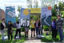 Young people with sustainability banners in Pittsburgh