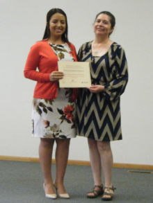 Maria Vanegas, 2017 Iowa IRP Video Award first-place winner, with Sandra Sanchez
