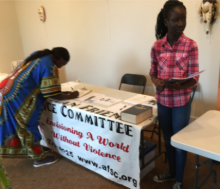 African constitutents sign petitions for the Ohio African Affairs Commission.