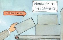 """Hand holding brick with text """"Money spent on lobbying"""""""