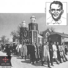 Newsletter from the archives showing James Reeb marching in Selma