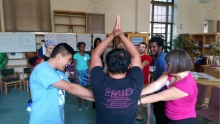 YUIR youth perform group excercise.