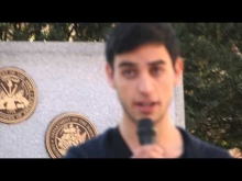"""Omar Hajajrah at """"Stand with Refugees"""" rally"""