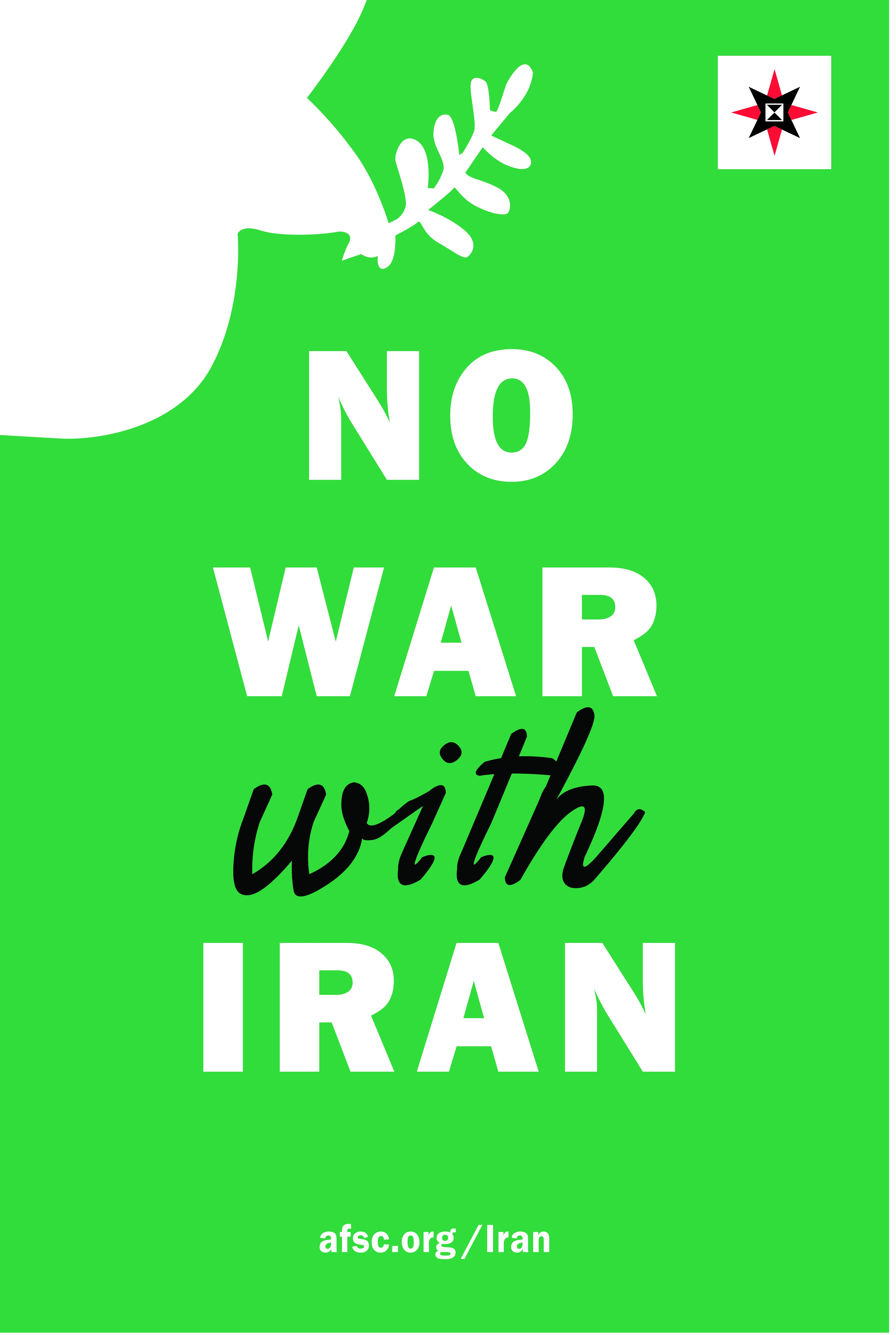 No war with Iran poster (green)