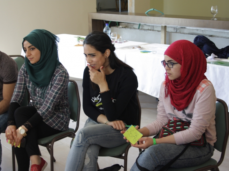 Youth participants in one of the sessions. Jericho, West Bank. March 2015.