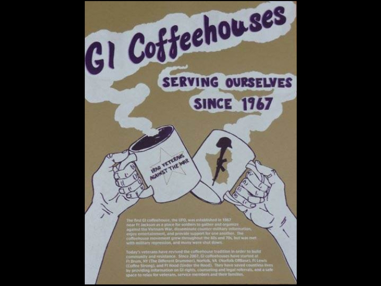 People's history poster for G.I. coffeehouses