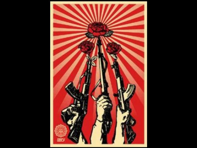 Poster showing roses growing out of gun barrels