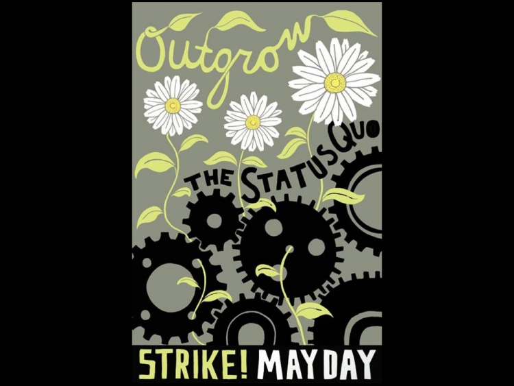 """Poster with gears reading """"Strike! Mayday"""""""