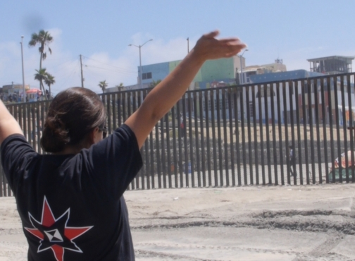 Adriana Jasso at the border wall
