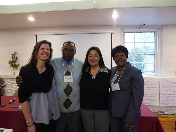 Denise Altvater, Esther Attean, Rev. Nelson Johnson & Joyce Hobson Johnson at the Beyond Crime & Punishment conference at Pendle Hill