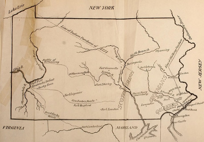 Map of colonial Pennsylvania from Pennsylvania Colony & Commonwealth by Sydney Fisher, Library of Congress, via Wikimedia Commons
