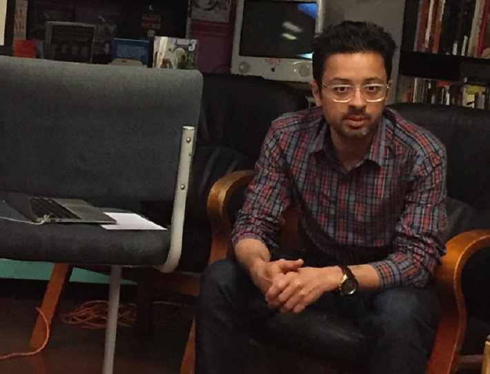 Mohammad Sabaaneh presents on his book at Wooden Shoe Books, Philadelphia