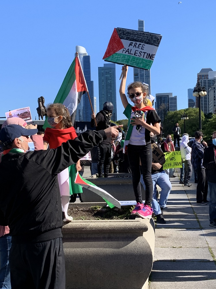 Palestinian child at a protest in Chicago, May 2021
