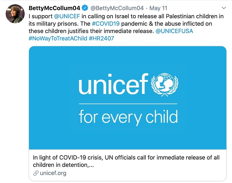 Betty McCollum's tweet in support of the UNICEF statement
