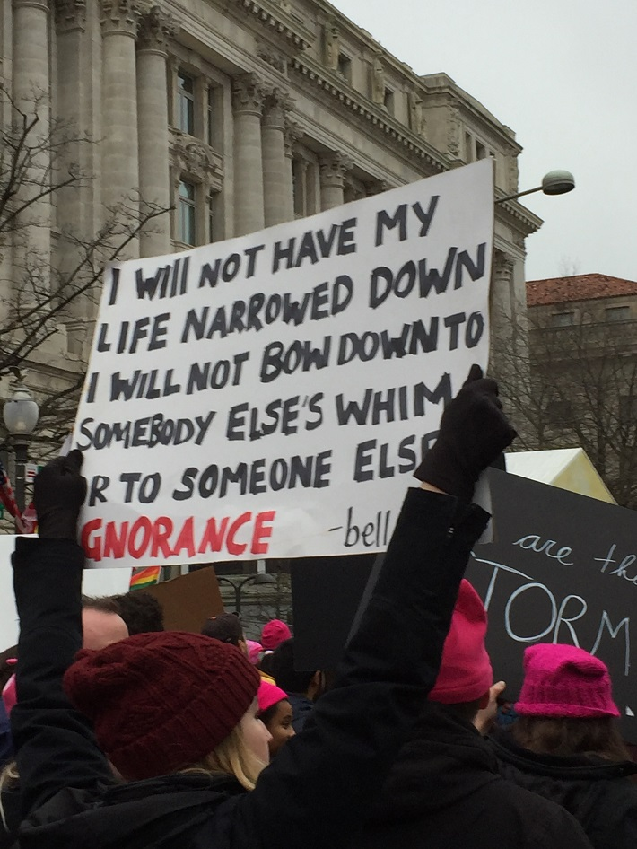 Bell Hooks quote on sign at Women's March, DC in Jan, 2016, photo by Lucy Duncan