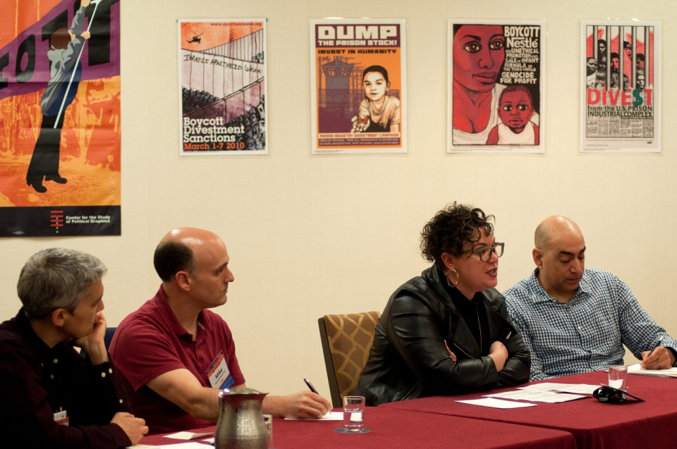 AFSC's Dalit Baum and Mike Merryman-Lotze, Alissa Wise of Jewish Voice for Peace, and Ali Abunimah of the Electronic Intifada speak at a workshop on the Palestinian-led BDS movement. Photo: Bryan Vana/AFSC