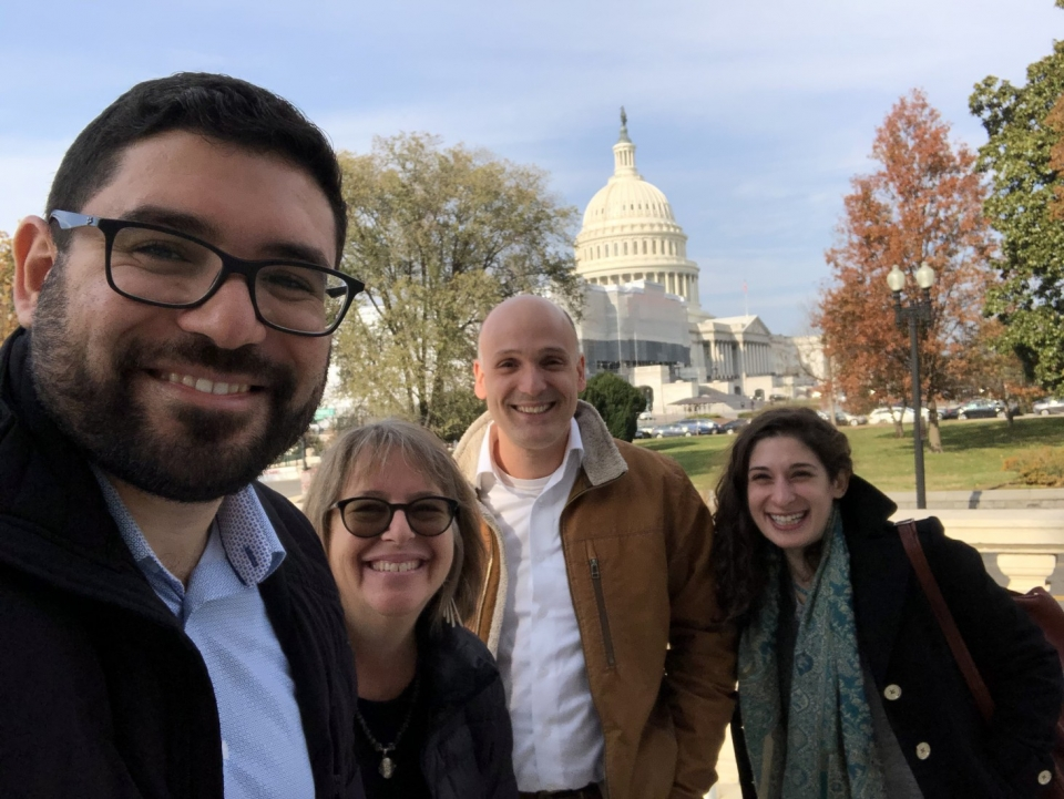 Shaina Low (far right) with AFSC staff Jehad Abusalim, Jennifer Bing, and Mike Merryman-Lotze in 2019. Photo: Jehad Abusalim/AFSC