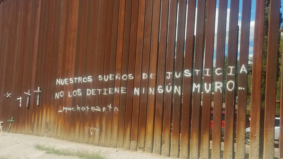 The U.S.-Mexico border wall in Nogales Photo: Jody Mashek/AFSC
