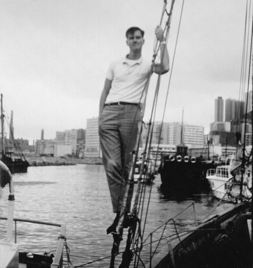 George ready to sail on the Phoenix, 1967. Photo courtesy of George Lakey.