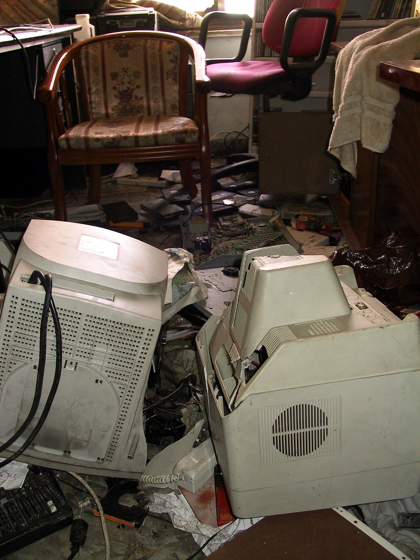 damage in the offices of a radio station after it was raided by the Israeli military.  This is similar to some of the destruction seen in the HDIP offices mentioned in the story. Photo by Peter Shafer.