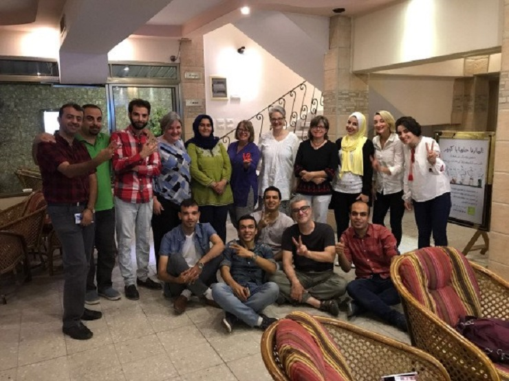 With current participants of AFSC's Palestinian Youth Together for Change program // Photo credit: Brant Rosen