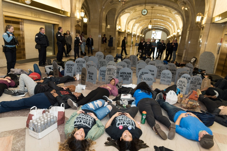 #NoCopAcademy die-in at city hall photo by Love & Struggle Photos
