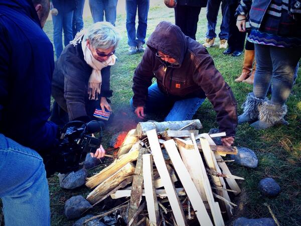 Molly Newell & Carol Wishcamper light the Sacred Fire to begin the Community Listening session / Maine-Wabanaki TRC